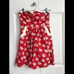 tube top red dress urban outfitters size 0